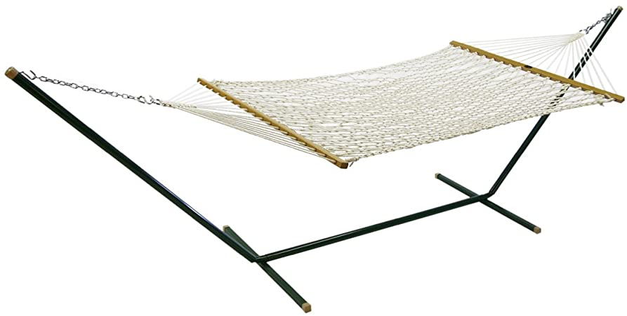 Algoma Cotton Rope Hammock with Metal Stand